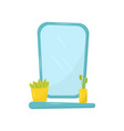 flat icon of blue mirror and small shelf vector image