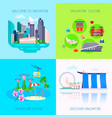 flat singapore culture icon set vector image vector image