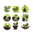 gardening and planting icons of green plant vector image