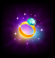 golden ring with gemstone icon for slot machine vector image