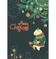 Greeting cardbear and bird under the christmas vector image vector image