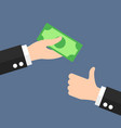 hand giving money note bank with thumbs up icon vector image