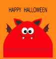 happy halloween card funny monster head with fang vector image