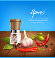 herbs and spices realistic background vector image vector image