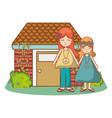 hippie girl cartoon vector image vector image