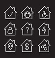 houses chalk icons set vector image vector image