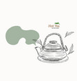 japanese tea kettle engraved vector image