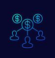 labor costs line icon on dark vector image vector image