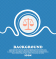 Libra icon sign Blue and white abstract background vector image