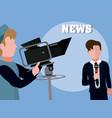men news reporter vector image vector image
