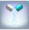 Open medical capsule with drop-down granules vector image