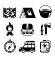 outdoors tourism camping flat pictograms set vector image vector image