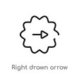 outline right drawn arrow icon isolated black vector image vector image