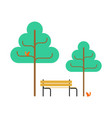 park bench and squirrel trees square object vector image