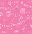 pink seamless pattern for a birthday vector image