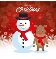 postcard merry christmas snowman and reindeer vector image