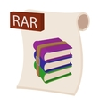 RAR file icon cartoon style vector image vector image