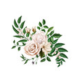 realistic watercolor rose bouquet leaves vector image vector image