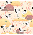 seamless pattern wetland scene and japanese cranes vector image vector image