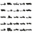 set trucks black silhouette icons vector image vector image
