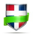 Shield with flag Dominican Republic and ribbon vector image