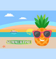 summertime card pineapple dressed in sunglasses vector image