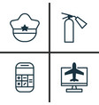 transportation icons set collection of pilot hat vector image
