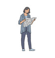 urban woman reading newspaper interested in world vector image vector image