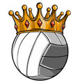 volleyball ball with royal crown king sport vector image vector image