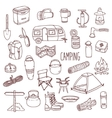 Camping hand drawn contour icon set vector image