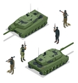 Tank american and soldiers Flat 3d vector image
