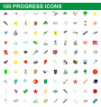 100 progress icons set cartoon style vector image vector image