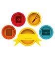 Apps technology buttons with emblem and ribbon vector image