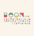 boon color font alphabet vector image vector image