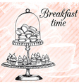 breakfasrt retro hand drawn design card vector image