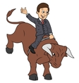 Businessman is riding bull vector image vector image