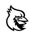 cardinal bird head mascot black and white vector image vector image