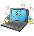 cartoon angry laptop vector image vector image
