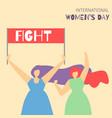cartoon fighting girls motivate feminist flat card vector image