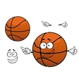 Cartoon happy basketball ball mascot character vector image vector image