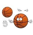 Cartoon happy basketball ball mascot character vector image