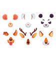 cartoon phone masks funny animals ears tongue vector image vector image