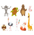 cartoon wild animals in different poses on white vector image vector image