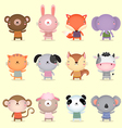 collection cute animals design vector image