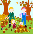 Family in fall vector image vector image