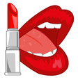 feminine lips and pomade red vector image vector image