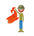 fisherman with big fish avatar character vector image vector image