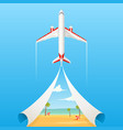 flat banner on the theme of travel by airplane vector image vector image