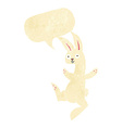 funny cartoon white rabbit with speech bubble vector image