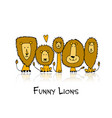 funny lions sketch for your design vector image
